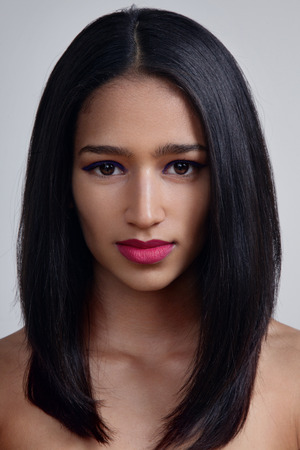 beauty indian woman with a magenta bright lips Archivio Fotografico