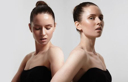 skin beauty: beauty balerina style girl with healthy ideal skin