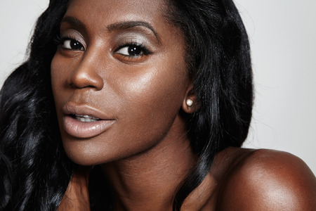 nude woman: black woman with a nude makeup