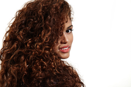 curly hair of pretty woman Imagens