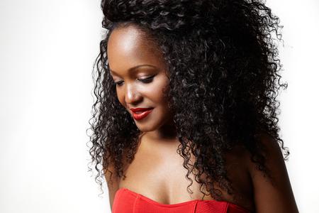 Zwarte vrouw met grote afro hair Stockfoto - 45423698