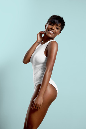smiling beauty black woman in body suite