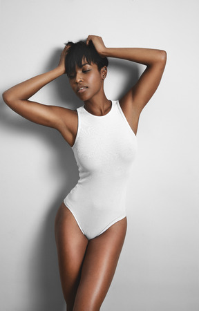 beauty black woman wearing underwear body Reklamní fotografie