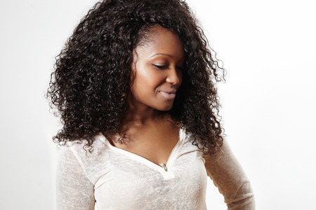 black woman with huge afro hair Stock Photo