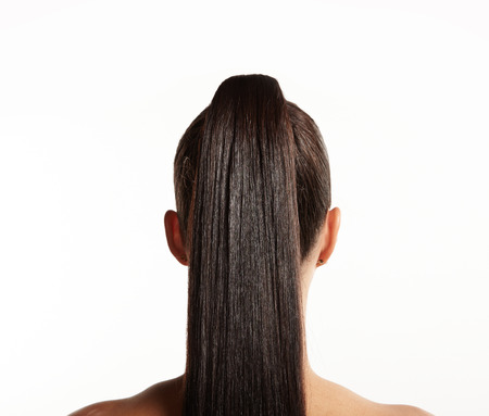 pony tail: closeup of pony tail. straight hair LANG_EVOIMAGES