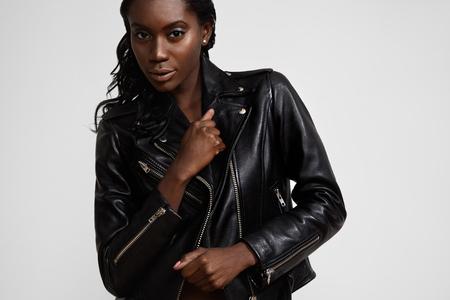 black woman wearing classik biker jacket photo