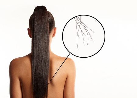 the split: damaged hair concept, split ends