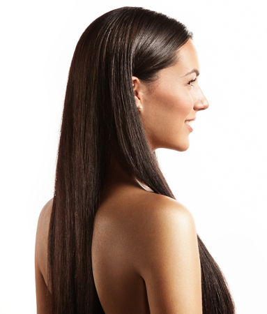 woman with a stright hair from back side Stockfoto