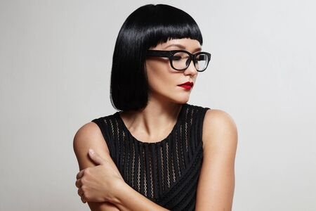 red lip: sexy brunette wear eyeglasses