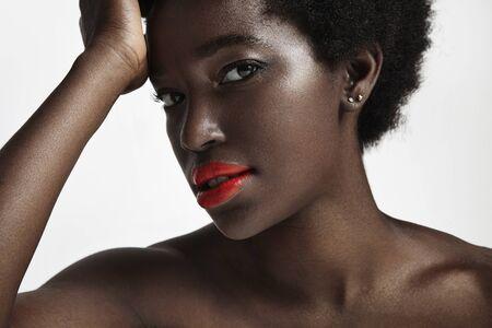 pretty black woman: closeup portrait of pretty black woman