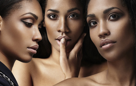 beautiful nude woman: three womans faces collage about ideal skin