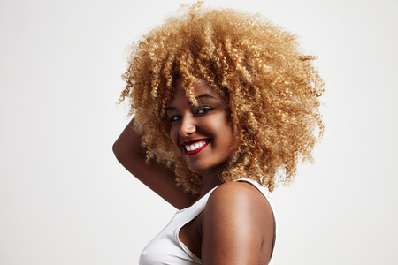 blondy afro hair woman Stock Photo