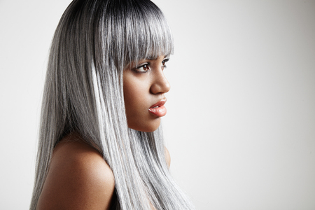 black woman with a grey long hair