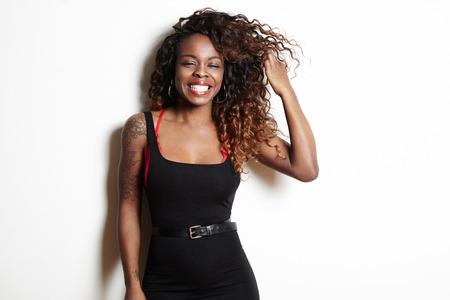 smiling happy black woman Stockfoto