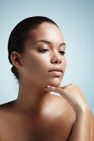 latin girl: pretty woman with an oily skin