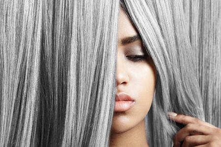 flaxen: woman with pretty lips and grey hair