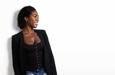 beauty black business woman watching aside
