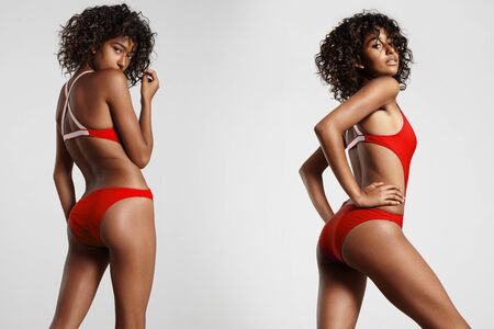 mesure: woman in red swimsuit posing to camera