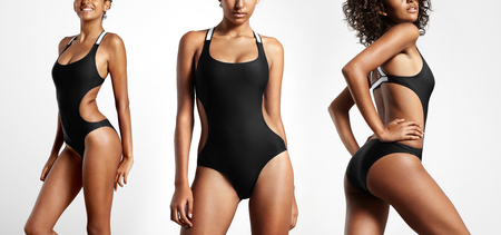 mesure: three different position of woman  with a beauty body wears black swimsuit