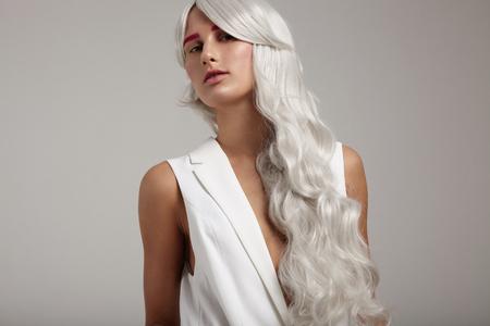 hair colour: grey hair, creative colour, curvy long hair portrait