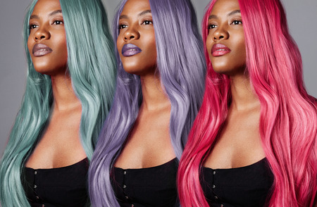 the same woman's portrait with different hair color. creative hair color concept Standard-Bild