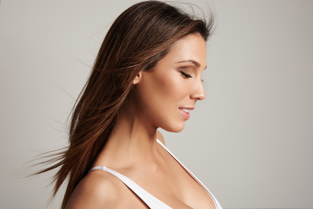 profile of spanish woman with long straight hair