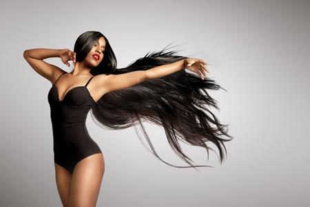 beuaty black woman in wig 写真素材