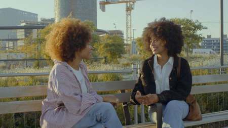 A couple of mixed race black women in the park sitting and talking with city buildings on background