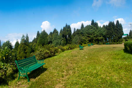 breath taking: Green Bench: A breath taking landscape of Deolo park tourist view point, Kalimpong, Darjeeling, India on green backdrop and blue sky. Stock Photo
