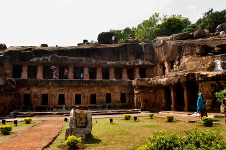Khandagiri caves: The twin hills Udayagiri and Khandagiri are located in the vicinity of Bhubaneswar town, Orisaa, India. These two hills represent one of the earliest groups of Jain rock-cut caves, architecture in eastern India. Editorial