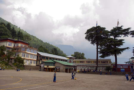 Children are playing in the playground of Tibetan children village in Dharamshala, Himachal Pradesh. Since 1960, when it became a temporary headquarter of His Holiness the Dalai Lama, Dharamshala has risen to international fame as The Little Lhasa in Ind