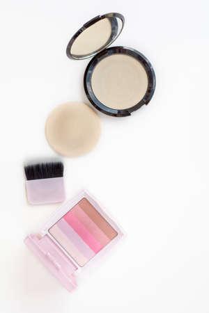 blusher: top view makeup powder and pink blusher Stock Photo