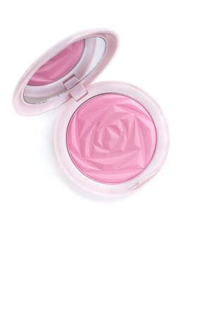 blusher: isolated top view beautiful pink color blusher makeup