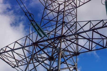 high voltage post. High-voltage tower sky background . Banque d'images - 130744901