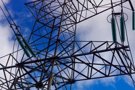 high voltage post. High-voltage tower sky background . Banque d'images - 130744902