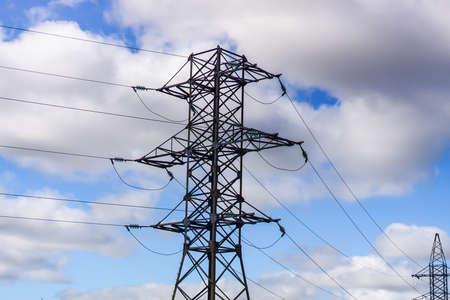 high voltage post. High-voltage tower sky background . Banque d'images - 130745346