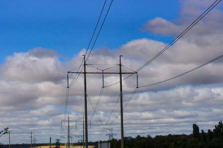 high voltage post. High-voltage tower sky background . Banque d'images - 130745356