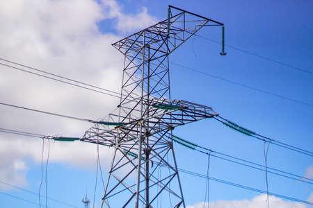 high voltage post. High-voltage tower sky background . Banque d'images - 130745354