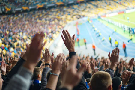 Football- soccer fans support their team and celebrate goal in full stadium with open air . Foto de archivo - 130808050