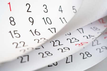 Close up a blue toned calendar page
