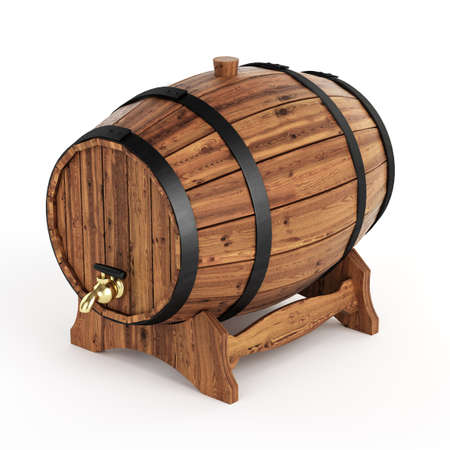 oak barrel: Isolated wine barrel Stock Photo