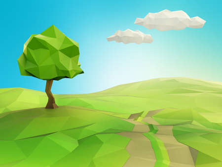 low light: Very high resolution illustration of one tree on a grass field