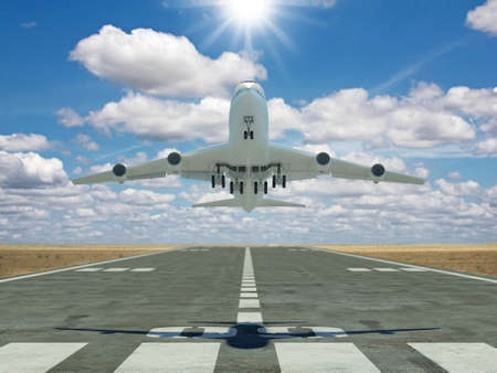 Very high resolution 3d rendering of an airplane taking off