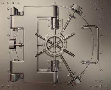 Very high resolution 3d rendering of a closed bank vault. Stock Photo