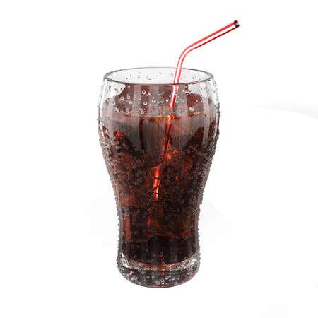 非常に高解像度の新鮮なコーラのガラス 3 d レンダリング。