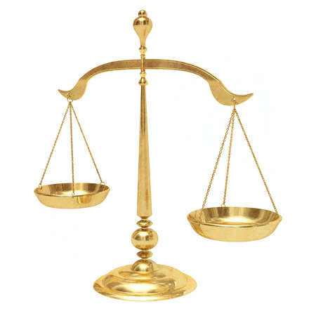 justice hammer: Very high resolution 3d rendering of a gold scales. Stock Photo