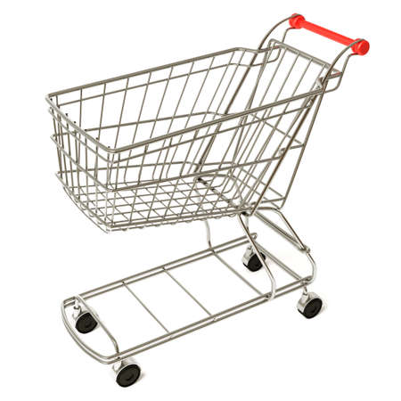Very high resolution 3d rendering of an empty shopping cart. photo