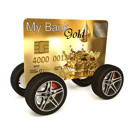 Very high resolution 3d rendering of a credit card on the wheels. photo