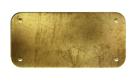 Very high resolution 3d rendering of an old brass plaque. Stock Photo