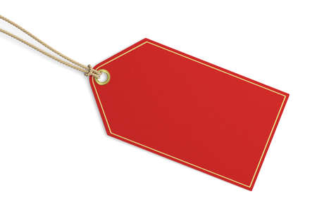 Very high resolution 3d rendering of a blank red price tag